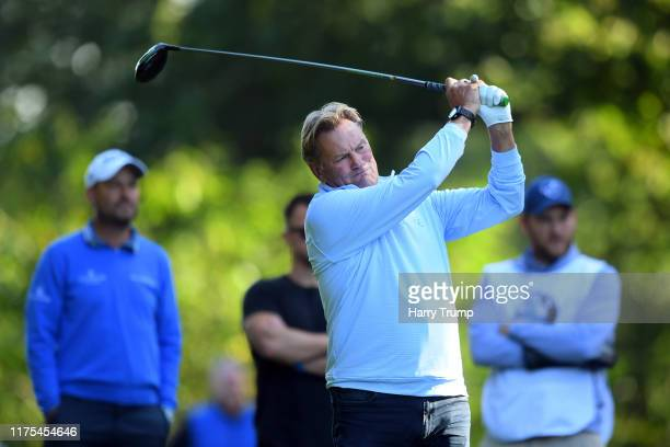 Glenn Hoddle plays a shot on the 4th tee during the BMW PGA Championship Pro-Am at Wentworth Golf Club on September 18, 2019 in Virginia Water,...