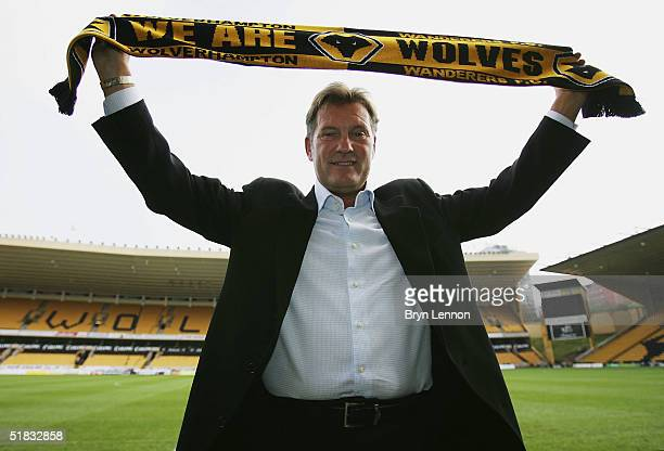 Glenn Hoddle poses for photographers at a press conference to announce him as the new Wolverhampton Wanderers Manager at the Molineaux on December 7...