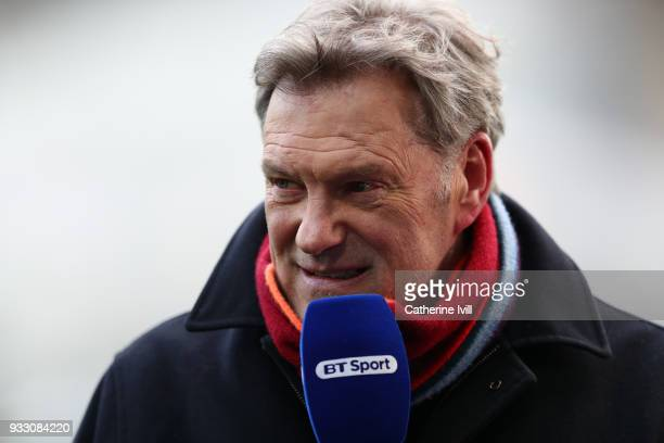 Glenn Hoddle reporting for BT Sport before The Emirates FA Cup Quarter Final match between Swansea City and Tottenham Hotspur at Liberty Stadium on...