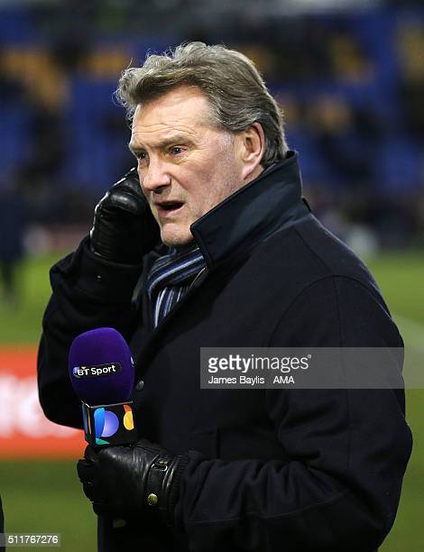 Glenn Hoddle working for BT Sport during the Emirates FA Cup match between Shrewsbury Town and Manchester United at New Meadow on February 22 2016 in...