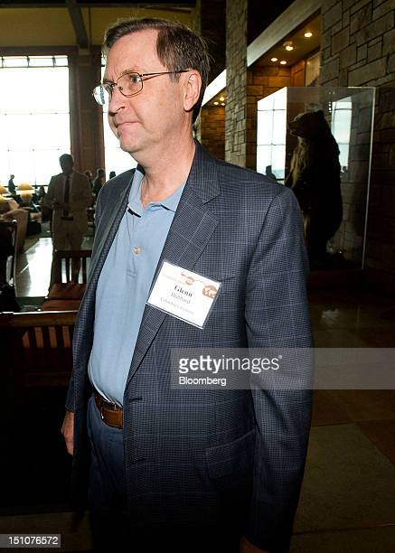 Glenn Hubbard professor at Columbia University and chief economic advisor to Mitt Romney leaves a session at the economic symposium sponsored by the...