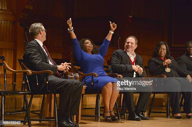 Glenn Hutchins Oprah Winfrey Harvey Weinstein and Shonda Rhimes attend the WEB Du Bois Medal Ceremony at Harvard University's Sanders Theatre on...