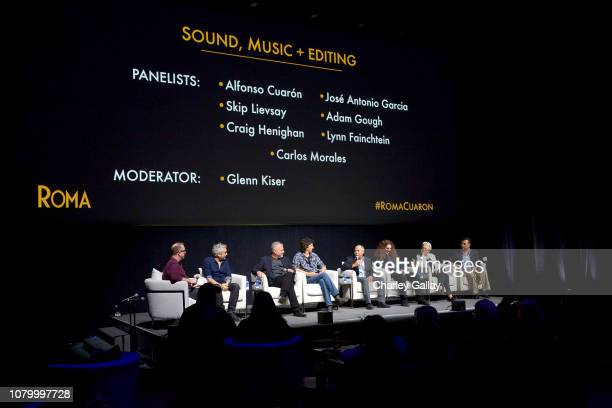 Glenn Kiser, Alfonso Cuarón, Skip Lievsay, Craig Henighan, Jose Antonio Garcia, Adam Gough, Lynn Fainchtein and Carlos Morales speak onstage at the...