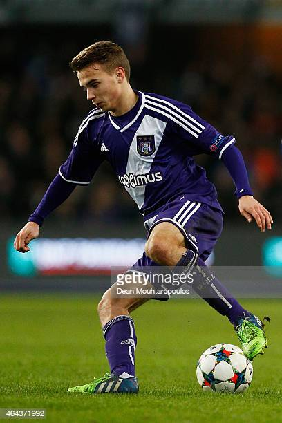 Glenn Leemans of Anderlecht in action during the UEFA Youth League Round of 16 match between RSC Anderlecht and FC Barcelona held at Constant Vanden...