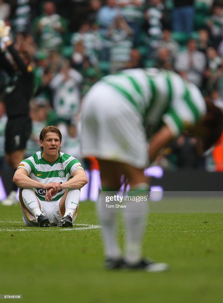 Glenn Loovens of Celtic looks on dejected after the final whistle during the Scottish Premier League match between Celtic and Hearts at Parkhead on May 24, 2009 in Glasgow, Scotland.