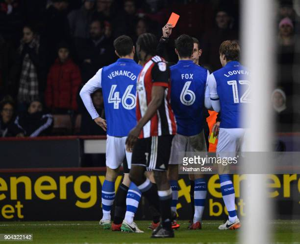 Glenn Loovens of Sheffield Wednesday is sent off during the Sky Bet Championship match between Sheffield United and Sheffield Wednesday at Bramall...