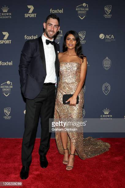 Glenn Maxwell and partner Vini Raman arrive ahead of the 2020 Cricket Australia Awards at Crown Palladium on February 10 2020 in Melbourne Australia