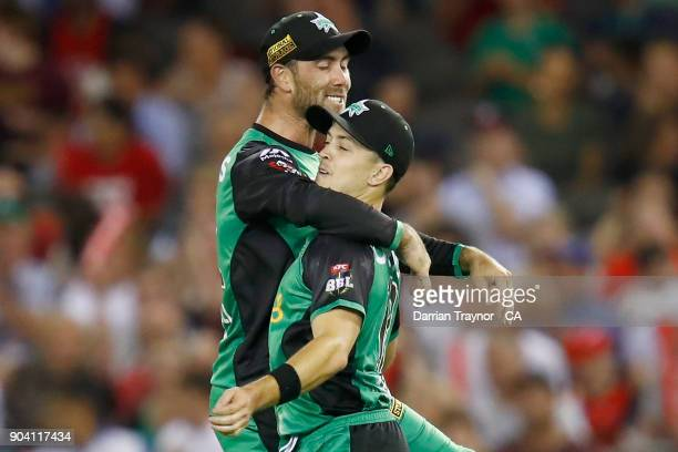 Glenn Maxwell and Seb Gotch of the Melbourne Stars celebrate the wicket of Matt Short of the Melbourne Renegade during the Big Bash League match...