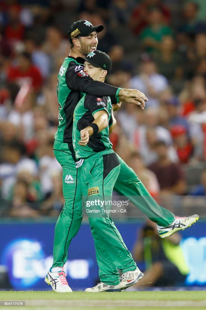 Glenn Maxwell and Seb Gotch of the Melbourne Stars celebrate the wicket of Matt Short of the Melbourne Renegade during the Big Bash League match between the Melbourne Renegades and the Melbourne Stars at Etihad Stadium on January 12, 2018 in Melbourne, Australia.