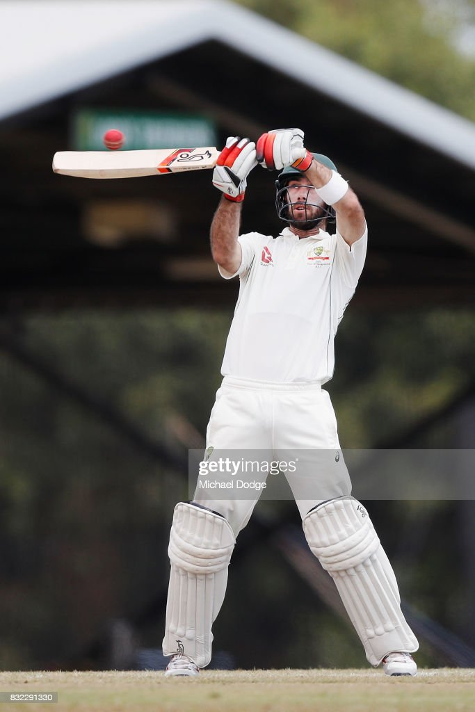 Glenn Maxwell bats during day three of the Australian Test cricket inter-squad match at Marrara Cricket Ground on August 16, 2017 in Darwin, Australia.