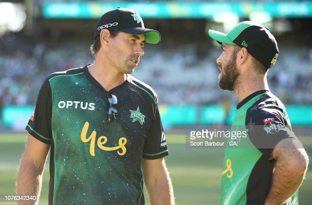 Glenn Maxwell, captain of the Stars and Stars coach Stephen Fleming talk during the Big Bash League match between the Melbourne Stars and the...