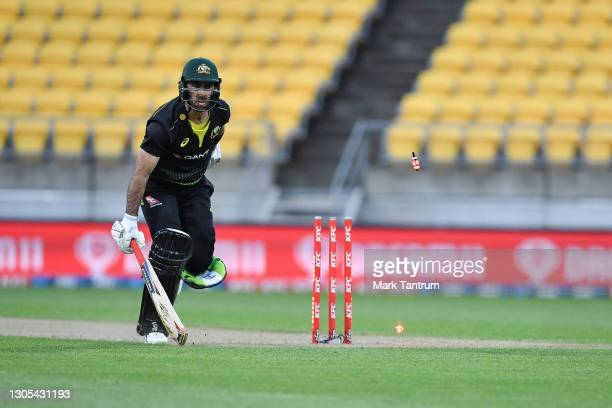 Glenn Maxwell of Australia almost run out during game four of the International T20 series between New Zealand Blackcaps and Australia at Sky Stadium...