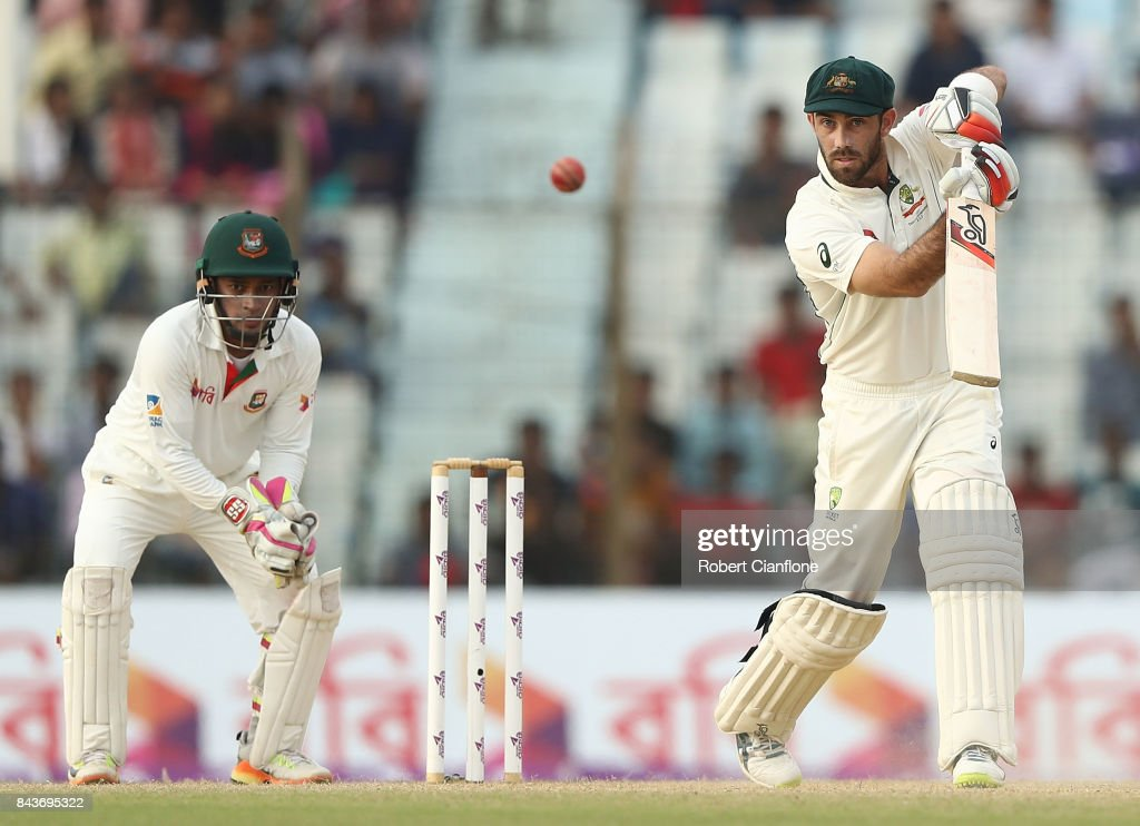 Glenn Maxwell of Australia bats during day four of the Second Test match between Bangladesh and Australia at Zahur Ahmed Chowdhury Stadium on September 7, 2017 in Chittagong, Bangladesh.