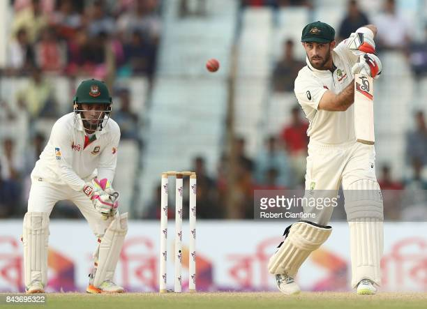Glenn Maxwell of Australia bats during day four of the Second Test match between Bangladesh and Australia at Zahur Ahmed Chowdhury Stadium on...