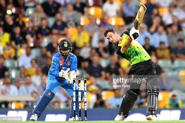Glenn Maxwell of Australia bats during game one of the International Twenty20 series between Australia and India at The Gabba on November 21 2018 in...