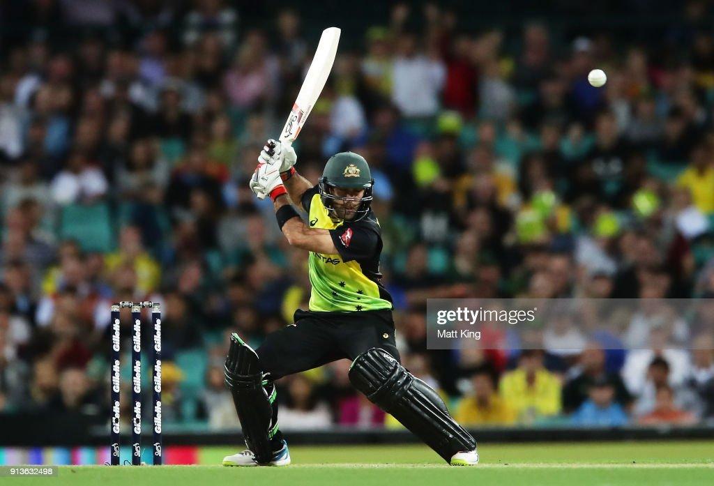 Glenn Maxwell of Australia bats during game one of the International Twenty20 series between Australia and New Zealand at Sydney Cricket Ground on February 3, 2018 in Sydney, Australia.