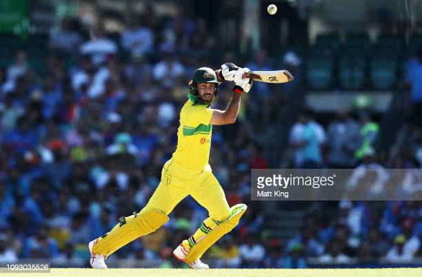 Glenn Maxwell of Australia bats during game one of the One Day International series between Australia and India at Sydney Cricket Ground on January...