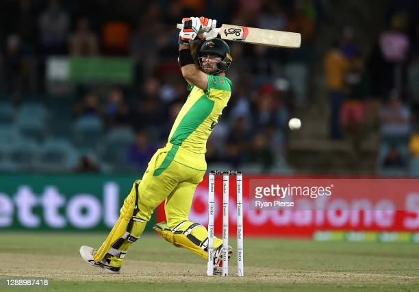 Glenn Maxwell of Australia bats during game three of the One Day International series between Australia and India at Manuka Oval on December 02, 2020...
