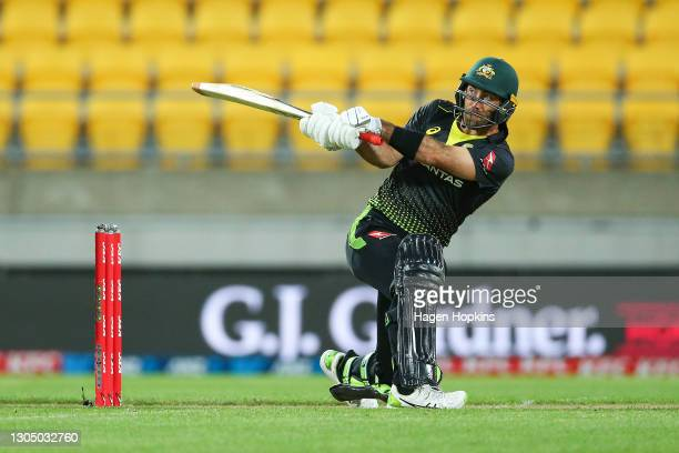 Glenn Maxwell of Australia bats during game three of the International T20 series between New Zealand Blackcaps and Australia at Sky Stadium on March...