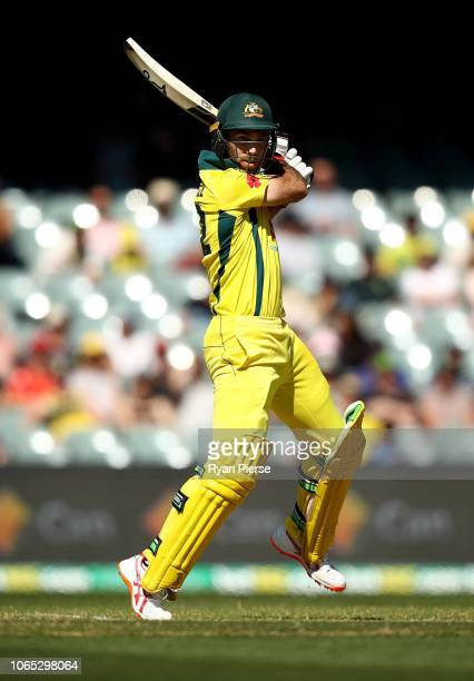Glenn Maxwell of Australia bats during game two of the Gillette One Day International series between Australia and South Africa at Adelaide Oval on...