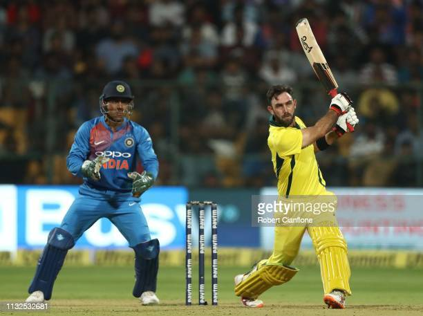 Glenn Maxwell of Australia bats during game two of the T20I Series between India and Australia at M Chinnaswamy Stadium on February 27 2019 in...