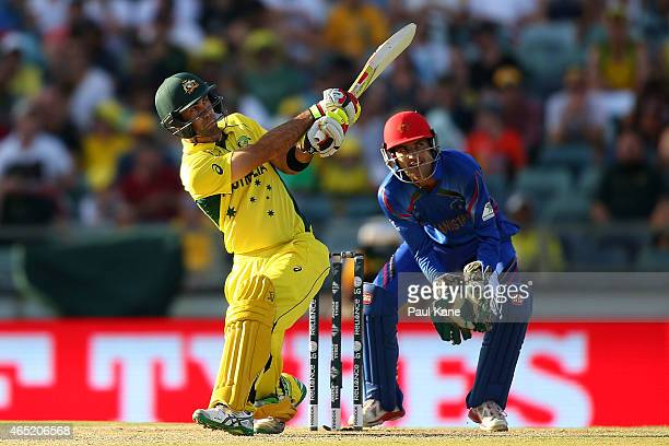 Glenn Maxwell of Australia bats during the 2015 ICC Cricket World Cup match between Australia and Afghanistan at WACA on March 4, 2015 in Perth,...