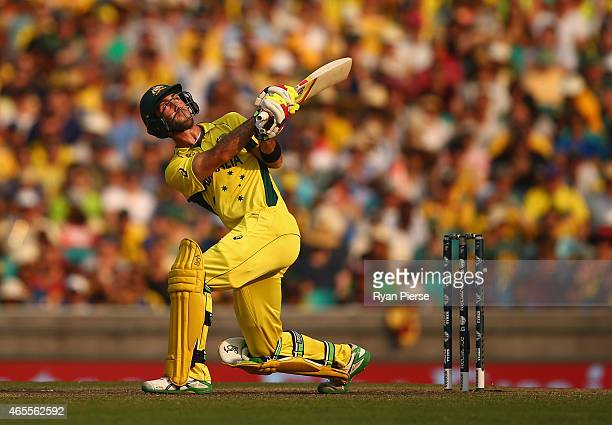 Glenn Maxwell of Australia bats during the 2015 ICC Cricket World Cup match between Australia and Sri Lanka at Sydney Cricket Ground on March 8, 2015...