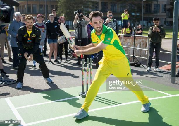 Glenn Maxwell of Australia bats during the Australian Men's Team international season launch at Glenelg Jetty on October 25 2019 in Adelaide Australia