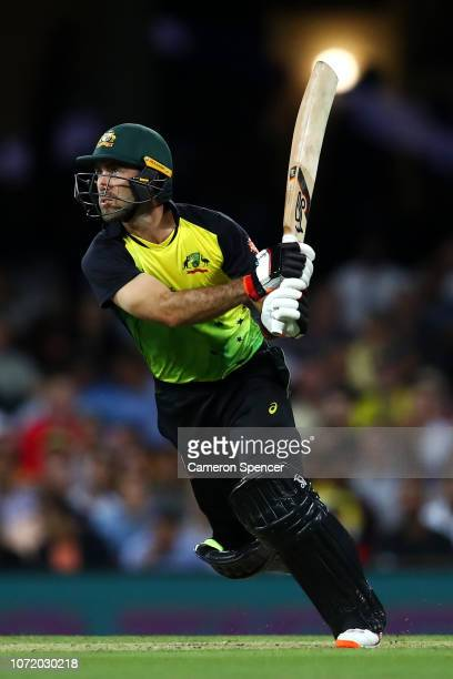 Glenn Maxwell of Australia bats during the International Twenty20 match between Australia and India at Sydney Cricket Ground on November 25 2018 in...
