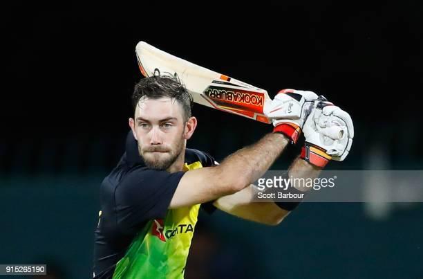 Glenn Maxwell of Australia bats during the Twenty20 International match between Australia and England at Blundstone Arena on February 7, 2018 in...