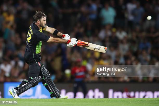 Glenn Maxwell of Australia bats during the Twenty20 International match between Australia and England at Blundstone Arena on February 7 2018 in...