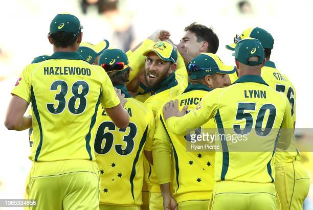 Glenn Maxwell of Australia celebartes after Aiden Markram of South Africa was run out by Marcus Stoinis of Australia during game two of the Gillette...
