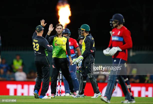 Glenn Maxwell of Australia celebrates after dimissing David Willey of England during the Twenty20 International match between Australia and England...