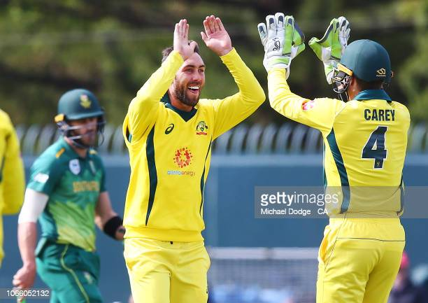 Glenn Maxwell of Australia celebrates his dismissal of David Miller of South Africa but the decision was later overturned during game three of the...