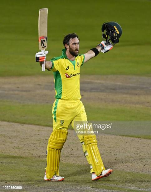 Glenn Maxwell of Australia celebrates reaching his century during the 3rd Royal London One Day International Series match between England and...
