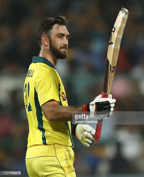 Glenn Maxwell of Australia celebrates scoring his fifty runs during game two of the T20I Series between India and Australia at M Chinnaswamy Stadium...