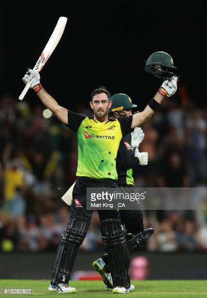 Glenn Maxwell of Australia celebrates victory and scoring a century during the Twenty20 International match between Australia and England at...