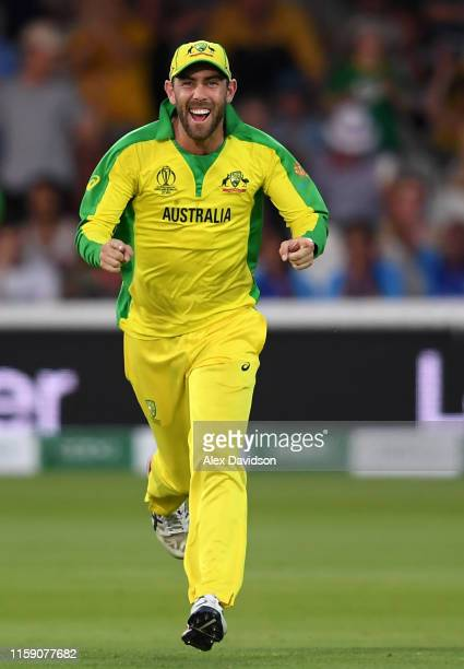 Glenn Maxwell of Australia celebrates victory during the Group Stage match of the ICC Cricket World Cup 2019 between New Zealand and Australia at...