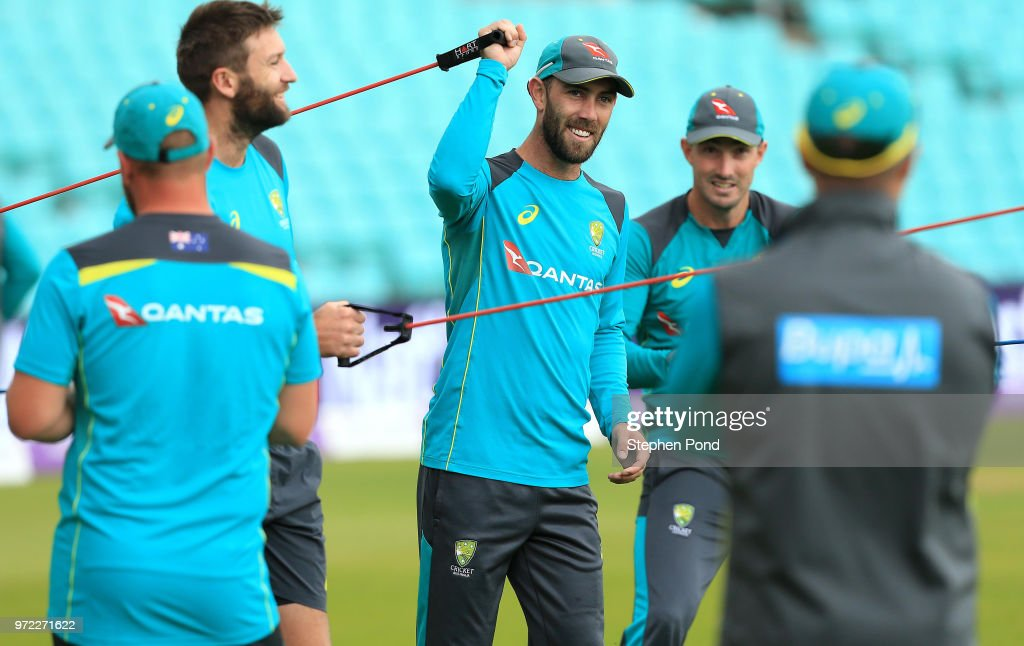 Glenn Maxwell of Australia during an Australia Net Session at The Kia Oval on June 12, 2018 in London, England.