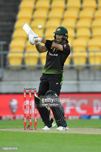 Glenn Maxwell of Australia during game four of the International T20 series between New Zealand Blackcaps and Australia at Sky Stadium on March 05,...