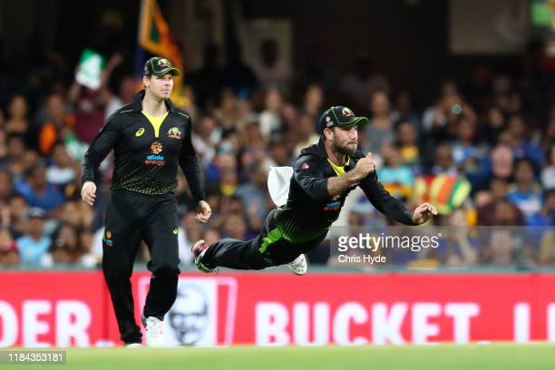 Glenn Maxwell of Australia fields during game two of the Men's International Twenty20 series between Australia and Sri Lanka at The Gabba on October...