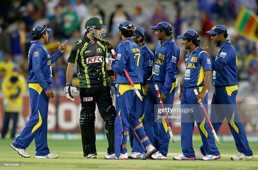 Glenn Maxwell of Australia has words with the Sri Lankan team after the final ball of the game during game two of the Twenty20 International series between Australia and Sri Lanka at the Melbourne Cricket Ground on January 28, 2013 in Melbourne, Australia.