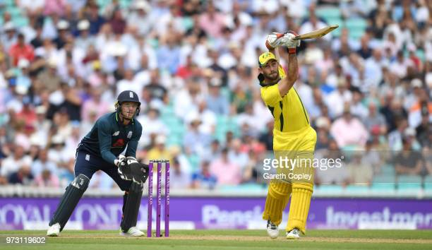 Glenn Maxwell of Australia hits out for six runs during the 1st Royal London ODI match between England and Australia at The Kia Oval on June 13 2018...