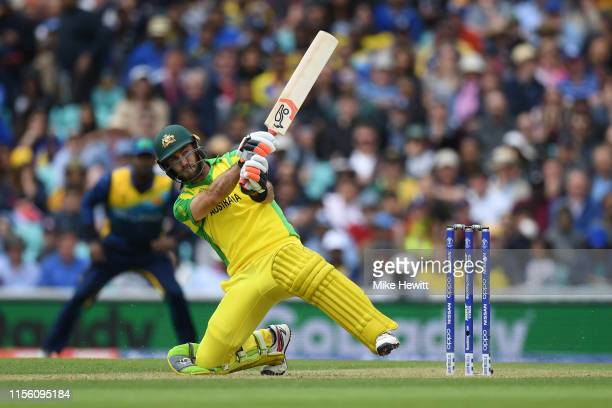 Glenn Maxwell of Australia hits the last ball of the innings for four during the Group Stage match of the ICC Cricket World Cup 2019 between Sri...