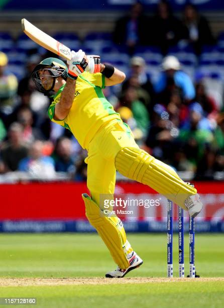 Glenn Maxwell of Australia in action batting during the Group Stage match of the ICC Cricket World Cup 2019 between Australia and Bangladesh at Trent...