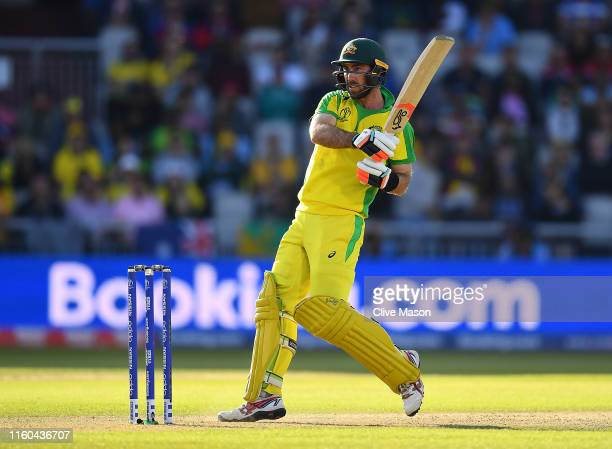 Glenn Maxwell of Australia in action batting during the Group Stage match of the ICC Cricket World Cup 2019 between Australia and South Africa at Old...