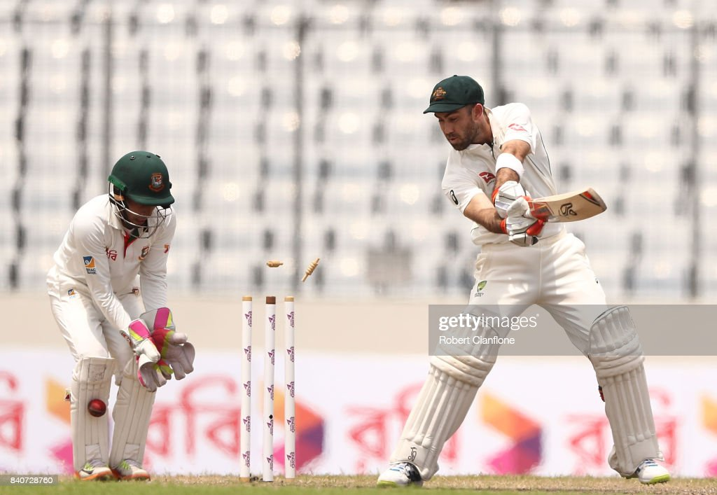 Glenn Maxwell of Australia is bowled by Shakib Al Hasan of Bangladesh during day four of the First Test match between Bangladesh and Australia at Shere Bangla National Stadium on August 30, 2017 in Mirpur, Bangladesh.