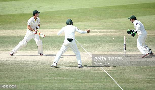 Glenn Maxwell of Australia is bowled by Zulfiqar Babar of Pakistan during Day Three of the Second Test between Pakistan and Australia at Sheikh Zayed...