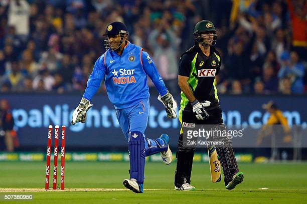 Glenn Maxwell of Australia is stumped by Mahendra Dhoni of India during the International Twenty20 match between Australia and India at Melbourne...