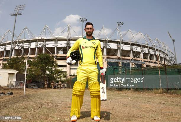 Glenn Maxwell of Australia poses ahead of game one of the One Day International series between India and Australia at Rajiv Gandhi International...